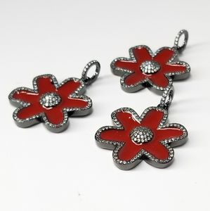 NEW Red Enamel Flower Pendant Charm Necklace